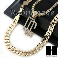 "HIP HOP ICED OUT DREAM CHASERS TENNIS CHAIN DIAMOND CUT 30"" CUBAN LINK CHAIN S58"