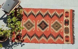 Orange Kilim Wool And Jute Handmade Rug