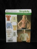 Simplicity 4077 Sizes 14 - 22 Blouses With Trim Variations Shirt Sewing Pattern