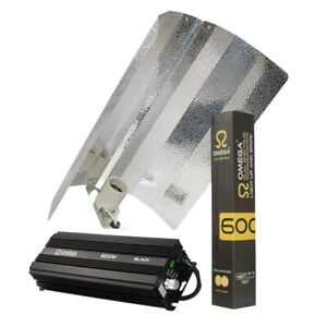 600w Omega Black Digital Dimmable Grow Light Kit Hydroponics Ballast Shade Lamp