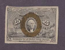 "1863-67 25¢  VF ""Washington Frame""' Fractional Currency!"