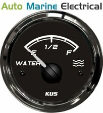 KUS Marine Water Level Gauge - 0-190ohms - 12/24V - 52mm - Black Bezel