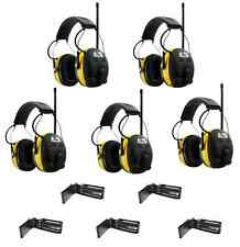 5 WORKTUNES Digital AM FM MP3 Radio HEADPHONES Hearing PROTECTION w/ BELT CLIPS
