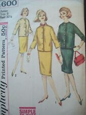 Vintage Simplicity Pattern 4600 Simple Skirt & Jacket Junior Size 9 circa 1960s