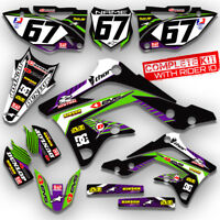 2008 - 2018 KLX 450 GRAPHICS KIT KAWASAKI RIDGELINE: PURPLE / GREEN DECALS