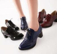 New Womens Brogue Oxfords Chunky Heels Patent Leather Wingtip Shoes Plus Size