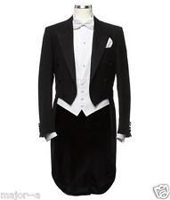 Black 3 Pieces Tailcoat Groom Tuxedos Best Men Formal Business Wedding Prom Suit