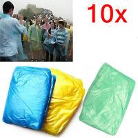 10x Disposable Adult Emergency Waterproof Raincoat Poncho Hiking Camping Hood RM