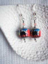 Handmade Earring With Beautiful Hand painted Peruvian Ceramic Beads  Red Blue