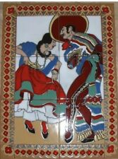 """Vintage Reproduction """"Spanish dancers"""" Tile Mural 1.1ft X 1.6ft Hand-painted"""