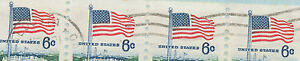 USA 1971 6 C Flag and White House strip of four on superb Air Mail cover VARIETY