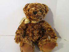 """2000 Animal Alley Golden Brown Teddy Bear Plush with Yellow Bow 13"""""""