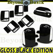 1999-2007 FORD F250 4DR GLOSS BLACK Door Handle Covers 1K+Mirror S+Tailgate w/K