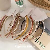 3PCS/set Women's Pearl Headband Wave Thin Hairband Hair Accessories Hair Hoops