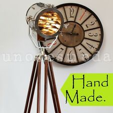 THE AVALON - Hand Made Chrome Nautical Search Light Designer Rustic Tripod Lamp