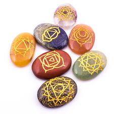 Multi-Stone Oval Karuna Reiki Set 7 Pcs Reiki Healing USUI Feng Shui Gemstones