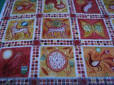 3 Yards Quilt Cotton Fabric - ITB Julie Paschkis Azuli Animal Squares Rust Orang