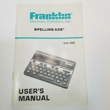 User Manual Only for Franklin Computer Spelling Ace Sa-98
