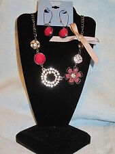 SIMPLY VERA WANG NWT $48 women's necklace & earrings set raspberry pink floral