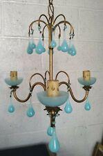 Vintage French Opaline Chandelier Blue Milk Glass Murano Drops
