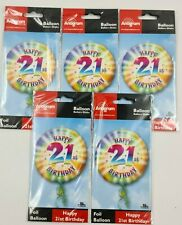 "5 Pack - 18"" Round Happy 21st Birthday Foil Helium Party Balloon job lot Unisex"