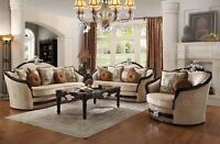 Belvedere Luxury Victorian Beige Sofa & Loveseat Ebony Wood & Silver Accents