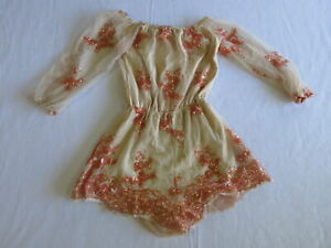 Reverse Womens Playsuit Size XS Beige Pink Half Sleeve Off The Shoulder Floral