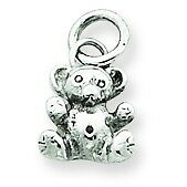 14K White Gold Polished and Casted Teddy Bear Fancy Charm Pendant For Necklace