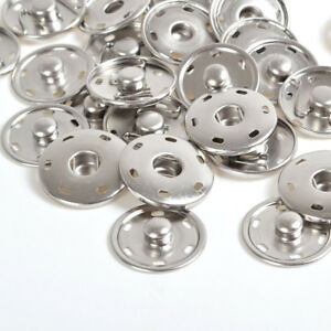 8/15/17/21/25/30mm Silver Metal Snaps Fastener Press Studs Sewing Sew on Buttons