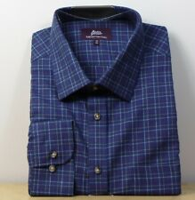 "M&S Pure COTTON TWILL Regular Fit LONG SLEEVE SHIRT ~ Size 18"" ~ NAVY Check"