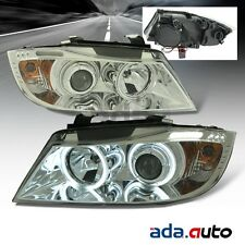 2006-2008 BMW E90 3-Series Sedan/Wagon [CCFL Halo] Chrome Projector Headlights