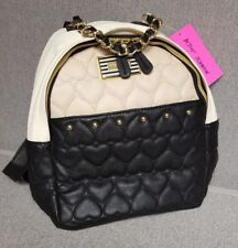 Betsey Johnson Backpack Black Cream Sand Quilted Hearts Gold Accents