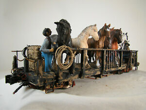 Accucraft Logging Horse Car - custom built and weathered with loggers and horses