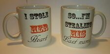 His and Hers Coffee Mugs Set Of 2 - Stealing Heart and Last Name !Free Delivery!
