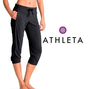 Athleta Pants Black Cropped Size 10 M Stretch Yoga Running La vava Ruched leg