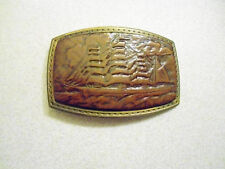 Brown Leather & Metal Belt Buckle the Old-Time Buckle collection original box