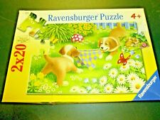 Ravensburger 2 x 20 Piece Puzzles Puppies Missing 1 piece Educational 2 in 1 box