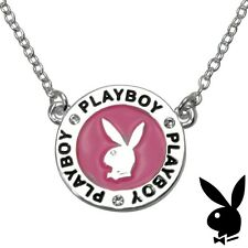 Playboy Necklace Silver Pendant Chain Crystal Pink Enamel Bunny CZ Gem EASTER