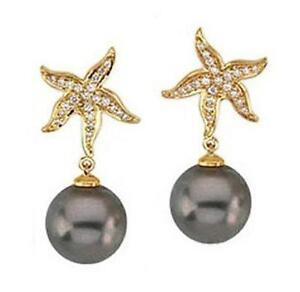 10-11mm Tahitian Black Pearl Earrings 18K Yellow Gold Sea Star & 3/8ctw Diamond