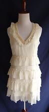Jenny Han Size XS Ivory Silk Chiffon Tiered Ruffle Dress Boho Beaded Neckline