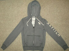 Abercrombie & Fitch Hoodie Distressed Mens S Muscle Gray LOGO Hooded Full Zip