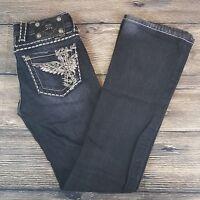 Miss Me Womens JE5117B4R Embellished Dark Wash Boot Cut Blue Jeans Size 25 X 31