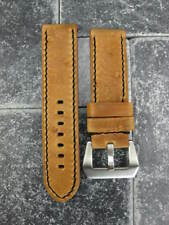 22mm NEW MOON COW LEATHER STRAP Brown Watch Band Luminor PAM Black Stitch
