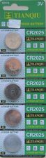 5 X CR2025, DL2025 BR2025, 3V TIANQIU LITHIUM  BUTTON BATTERY 2017 USA SHIP