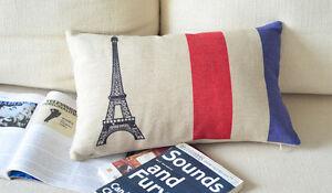 Cotton Linen Cushion Cover Home Decor France Eiffel Tower Paris