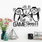 Eat Sleep Game Gamepad Wall Sticker Boys Play Room Bedroom Living Home Decor`h2