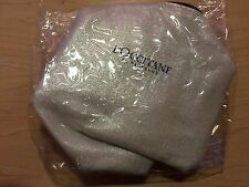 L'Occitane COSMETIC TRAVEL POUCH shiny silver exterior navy blue zipper NEW