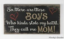 PRIMITIVE COUNTRY BLACK WOOD MOTHER SON SIGN HANDMADE INSPIRATIONAL DECOR 1254