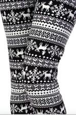 Womens Nordic Snowflake Christmas Leggings Black Reindeer Print ONE SIZE OS 2-12