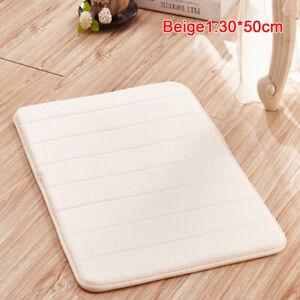 Home Bath Mat Coral Fleece Carpet Non-slip Memory Foam Washable Rug Floor Mat&